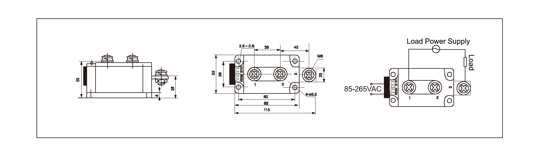 Dimensions,_circuit_wiring_diagram,_industrial_AC_to_AC_solid_state_relay_schematic_of_mager_MGR_AH12400Z_industrial_single_phase_AC_to_AC_solid_state_relay│HUIMULTD