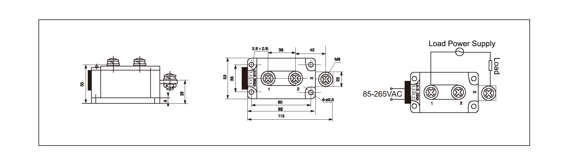 Dimension and circuit diagram - MGR AH12400Z series