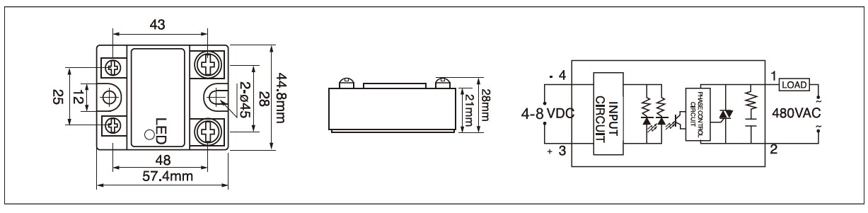 MGR-1D Series Panel Mount Solid State Relay Random-Fire Diagram
