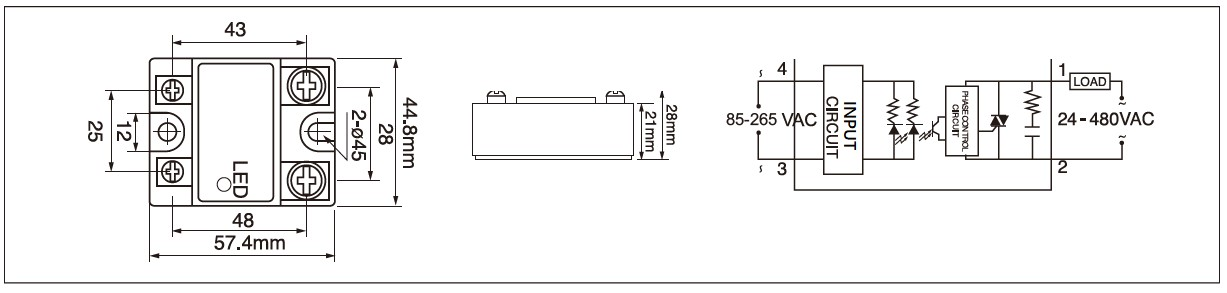 MGR-1A Series Panel Mount Solid State Relay Diagram