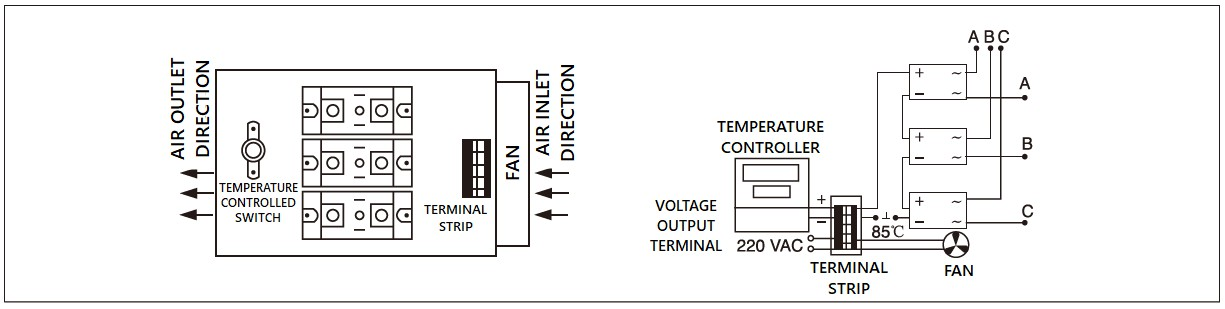 Dimensions,_circuit_wiring_diagram,_industrial_DC_to_AC_solid_state_relay_schematic_of_mager_MGR_H12100Z3_industrial_three_phase_DC_to_AC_solid_state_relay│HUIMULTD