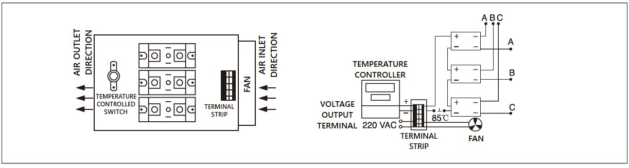 Dimension and circuit diagram - MGR H3 (3) series