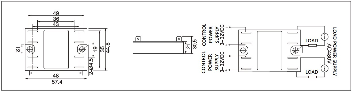 Single phase dual solid state relay dimensions, dual AC relay circuit diagram and solid state dual channel relay wiring diagram of the MGR1D(2H) series dual single phase solid state relay