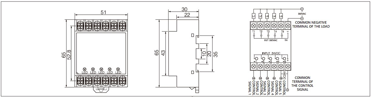 Single phase 5 pole solid state relay dimensions, 5 pin AC relay circuit diagram and solid state five terminal relay wiring diagram of the PN5(DA) series five wire single phase solid state relay