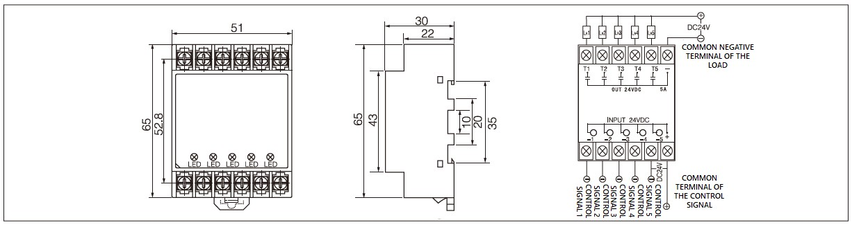 ST5 Series Panel Mount Solid State Relay Diagram