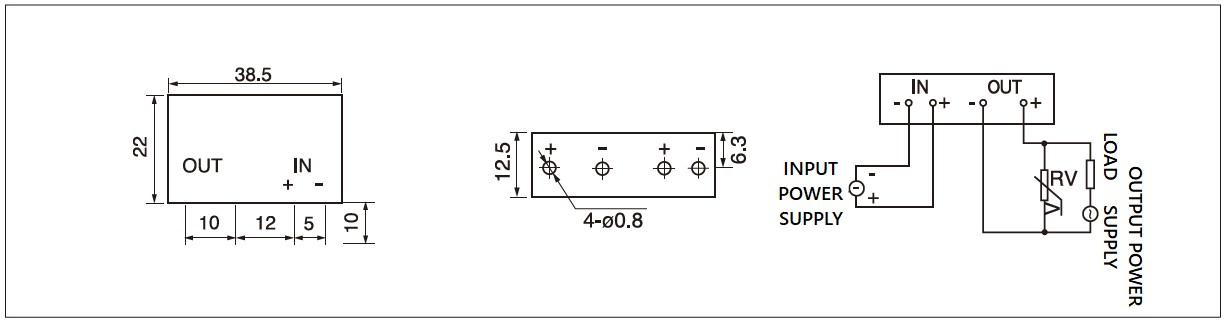Dimensions,_circuit_wiring_diagram,_pcb_mount_solid_state_relay_schematic_of_mager_GJ_5FA_L_pcb_mounting_DC_solid_state_relay│HUIMULTD