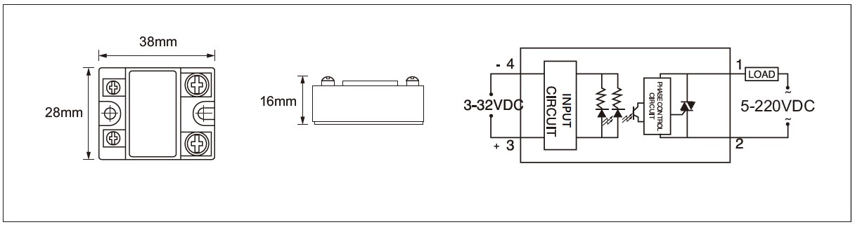 MGR-DD Series Panel Mount Solid State Relay Diagram