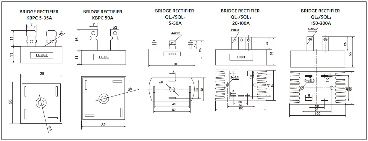 Dimensions - mager KBPC,QL,SQL series bridge rectifiers