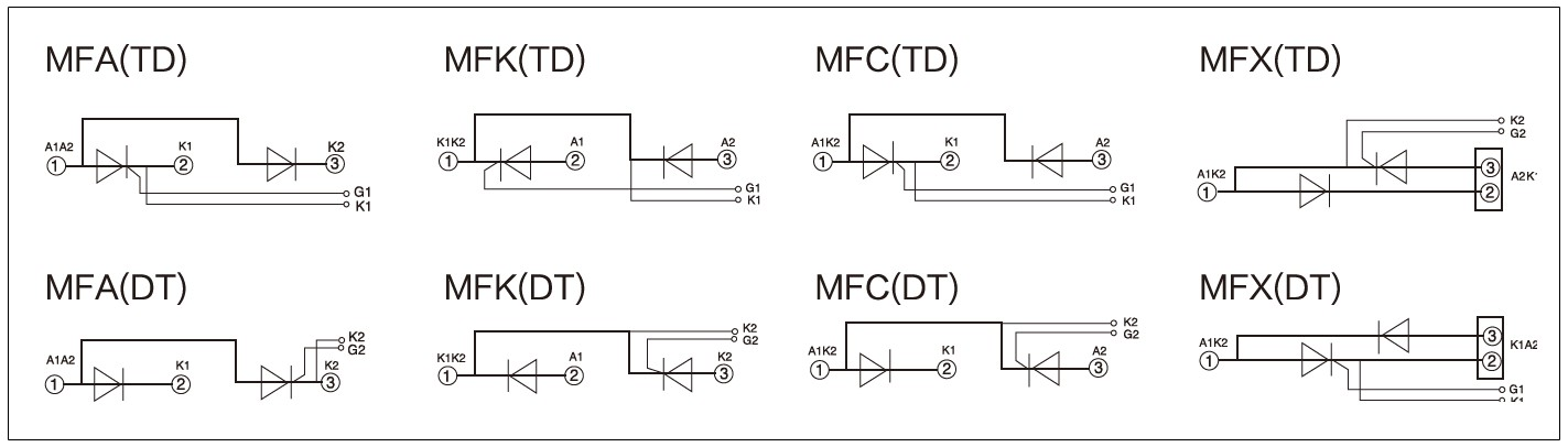 Circuit diagram - mager MFC, MFA, MFK, MFX series standard thyristor and rectifier hybrid module