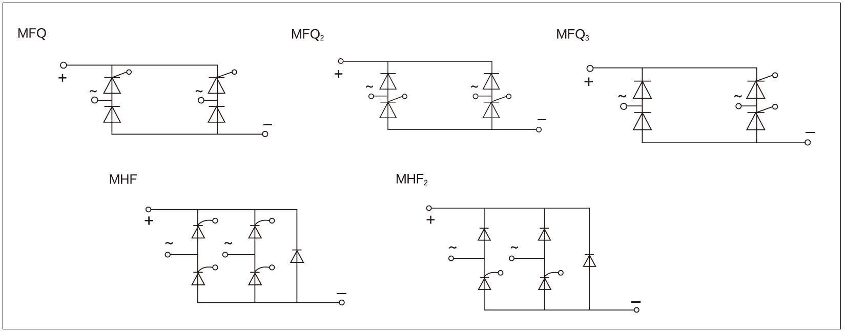 Circuit_wiring_diagram,_schematic_diagram_of_mager_MFQ,_MTF,_MHF_series_single_phase_fully-controlled/half-controlled_bridge_rectifier_module│HUIMULTD