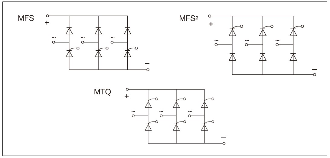 Circuit diagram - mager MTQ, MFS series three phase fully-controlled/half-controlled bridge rectifier module
