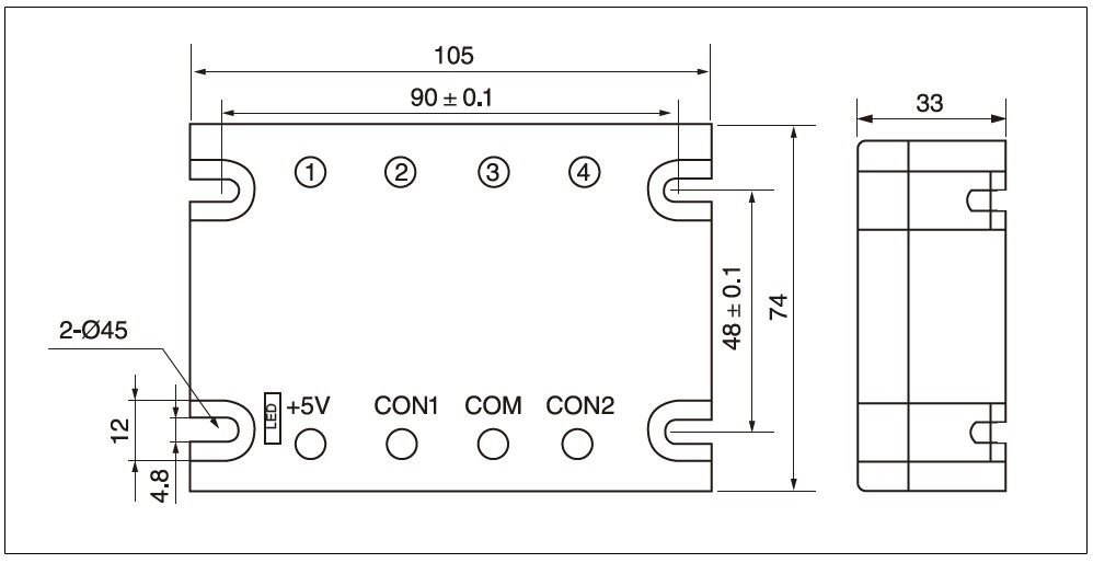 MGR-DT Series Voltage Power Regulator Dimensions