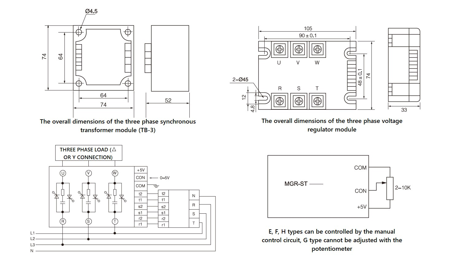 Dimensions, circuit wiring diagram, schematic diagram - MGR STY 380D40E
