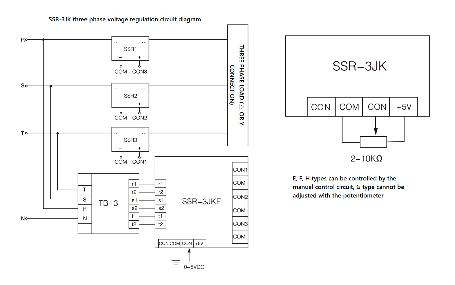 SSR-3JK Series, PCB mount, Circuit Wiring Diagram