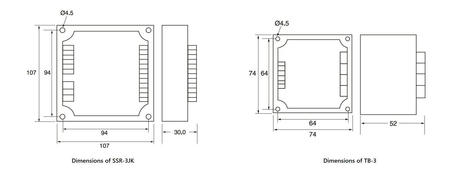 SSR-3JK Series, PCB mount, Dimensions