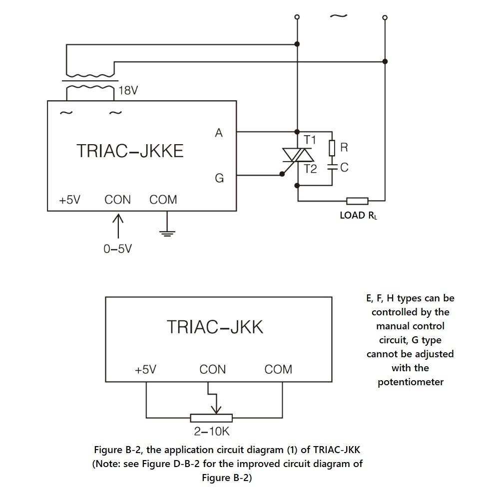 Wiring diagram - SCR JKK / TRIAC JKK series with RC circuit and TRIAC