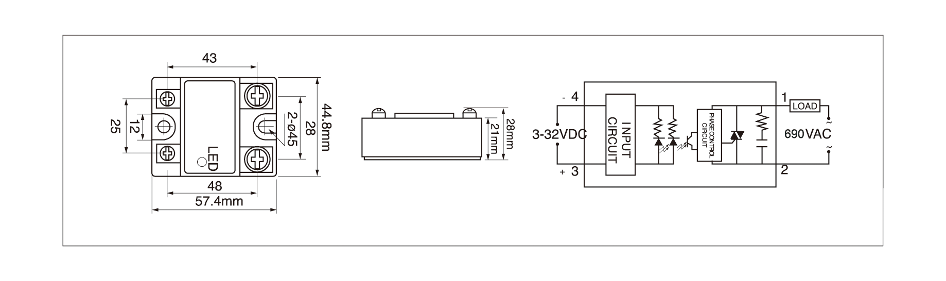 Dimensions,_circuit_wiring_diagram,_DC_to_AC_solid_state_relay_schematic_of_mager_MGR_1D6940_DC_to_AC_solid_state_relay│HUIMULTD