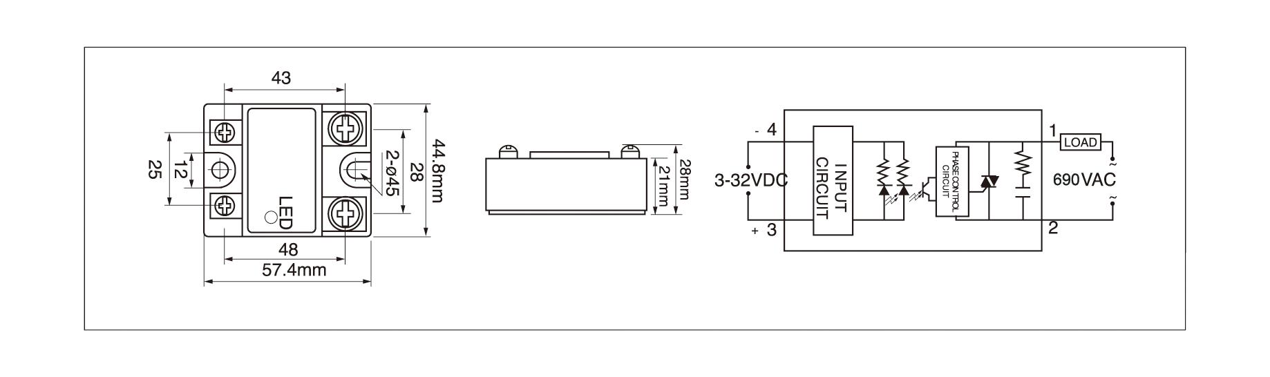 Dimension and circuit diagram - MGR 1D69