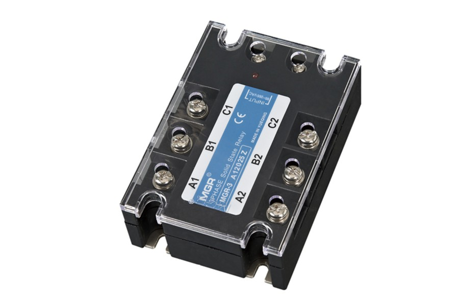MGR 3A12025Z, MGR 3A series three phase AC to AC solid state relay, AC input, AC output, 24VAC, 1200VAC, transparent cover, panel mounting with metal base and screw terminals