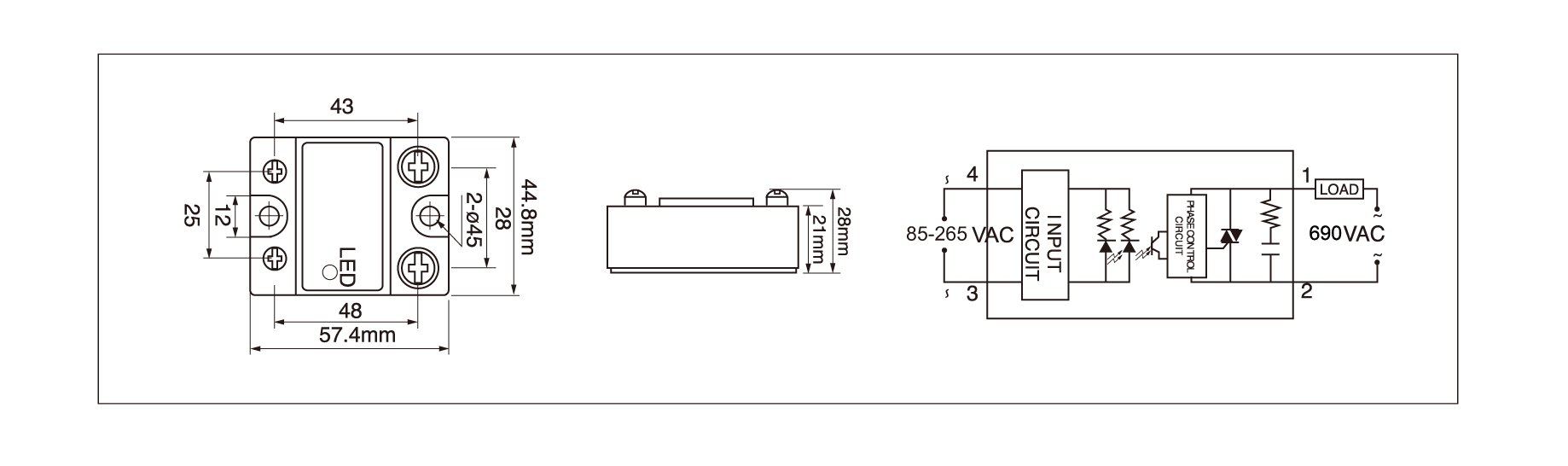 Dimension and circuit diagram -  MGR 1A69 series