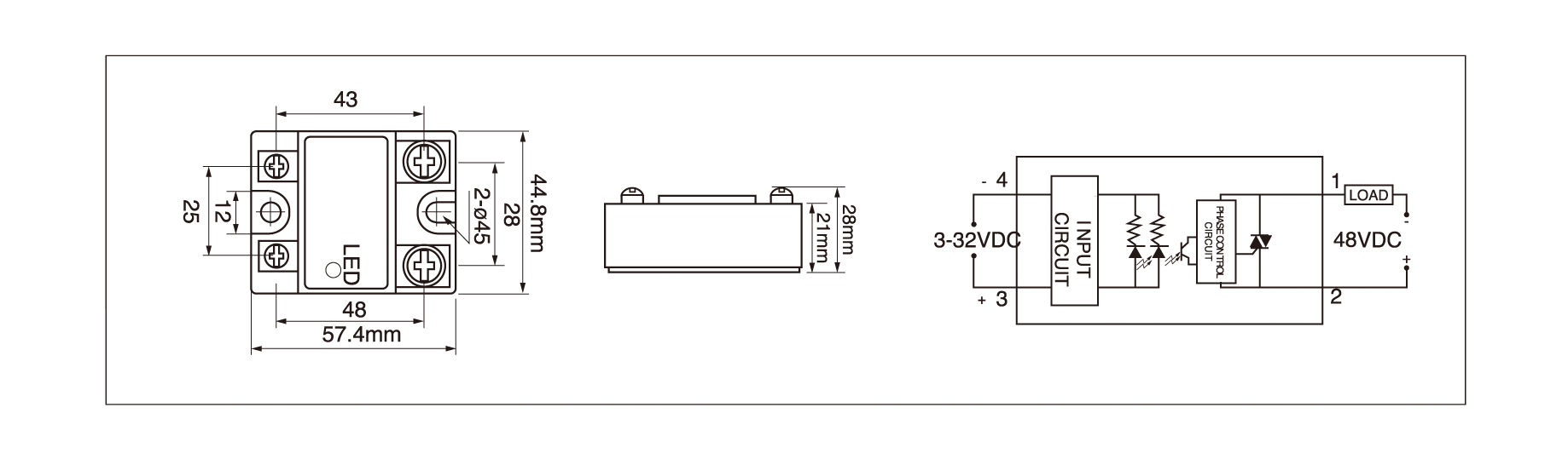 DC solid state relay dimensions, DC solid state relay circuit diagram and DC solid state relay wiring diagram of the MGR1DD series DC to DC solid state relay