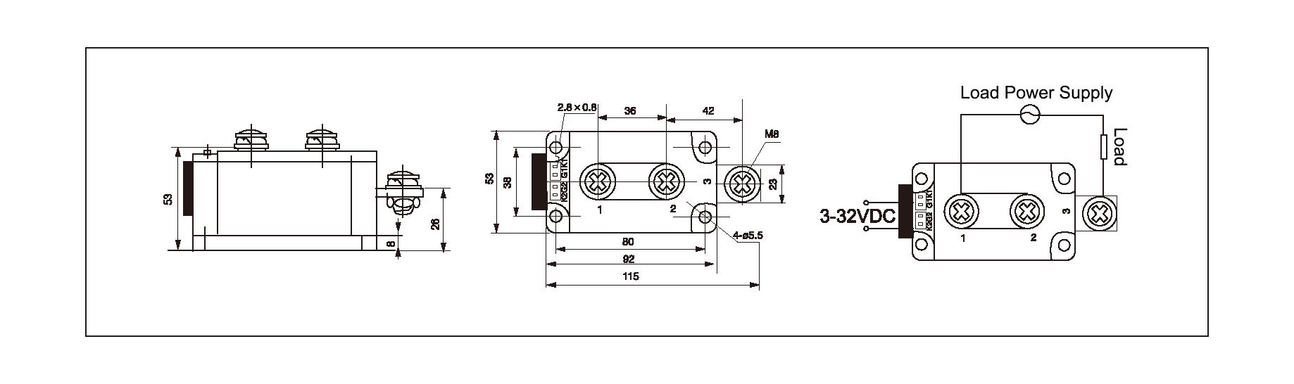 Dimension and circuit diagram - MGR H12400Z series
