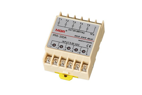 PN5 10DA, PN5(DA) series DC to AC five pin solid state relay, DC input, AC output, 32VDC, 480VAC, Panel mount solid state relay with metal base, five I/O channels and lead terminals