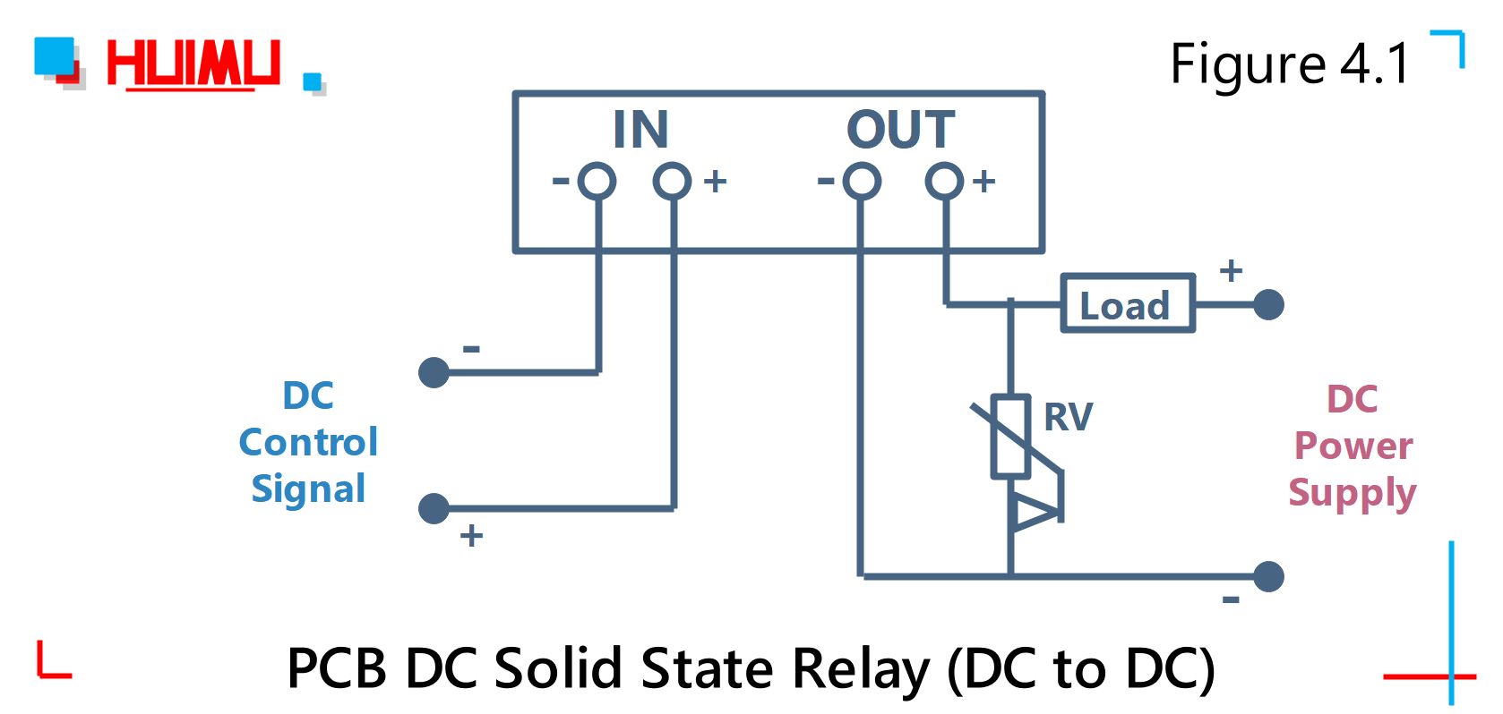 PCB DC solid state relay (DC to DC) wiring diagram and circuit diagram Type 1