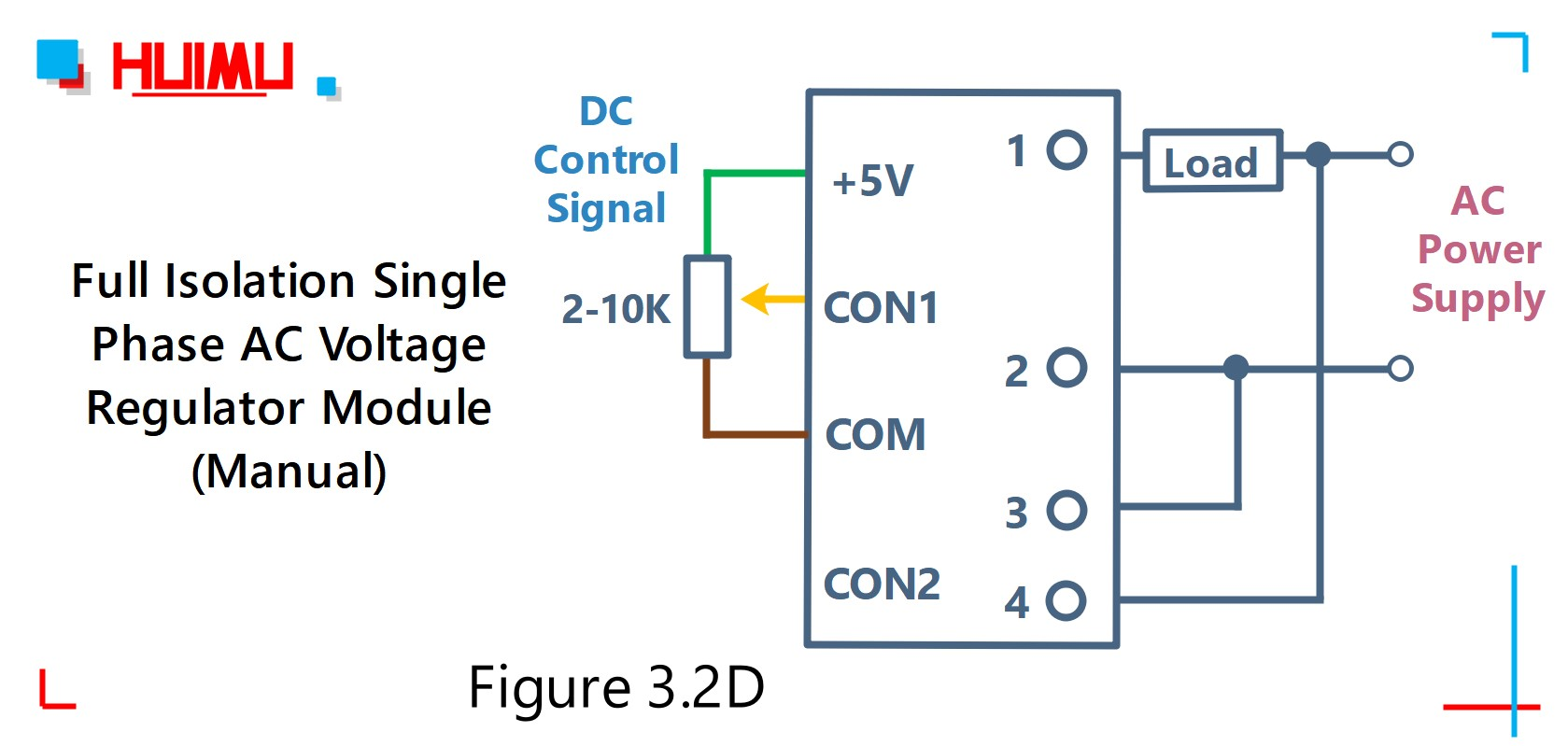 How to wire MGR mager MGR-DTY2240EG full isolation single phase AC voltage regulator? Manual type AC voltage regulator module circuit diagram, E, F, H types can be controlled by manual, and G type cannot. More detail via www.@huimultd.com