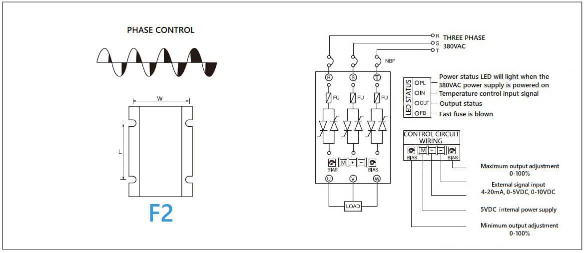 Dimension and circuit diagram - MGR SCR (LA) (H) series