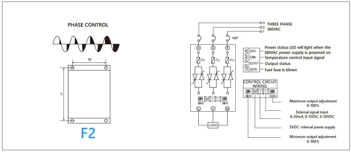 Dimension and circuit diagram - MGR SCR (LA) (H) series