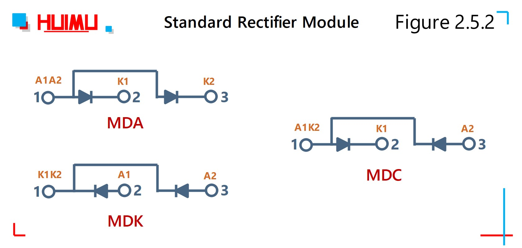 Wiring diagram of standard diode rectifier module