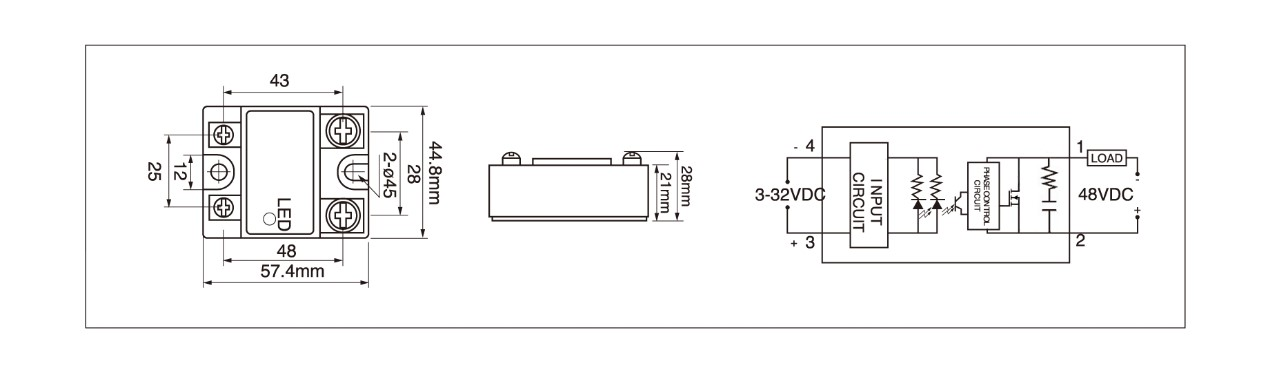 MGR-1DD Series Panel Mount Solid State Relay Diagram
