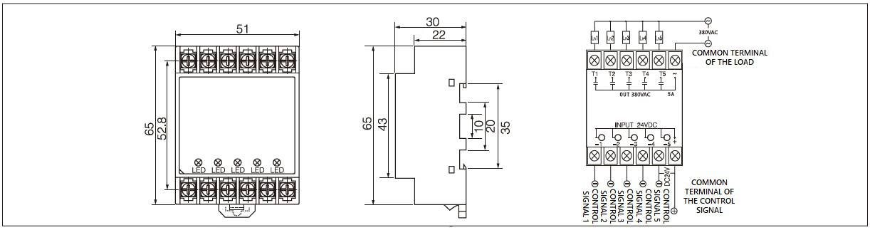 Dimension and circuit diagram - PN5 (DA) series