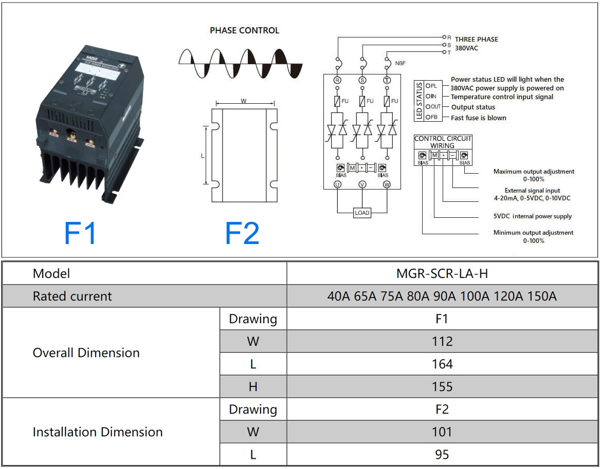 MGR-SCR3_LAH Series Voltage Power Regulator Professional, L-Power Diagram