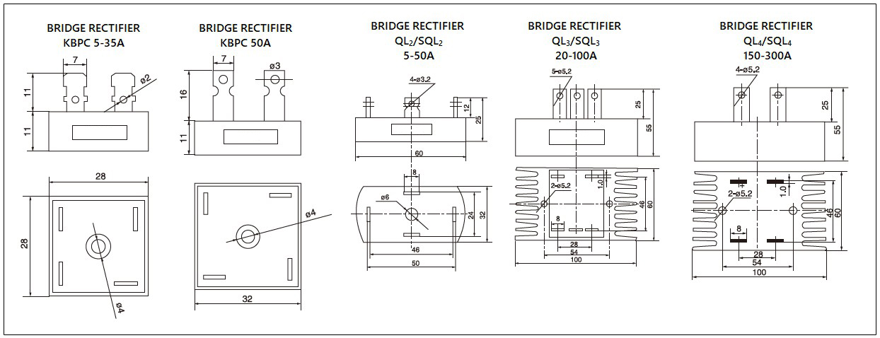 Dimensions - mager KBPC,QL,SQL series bridge rectifiers