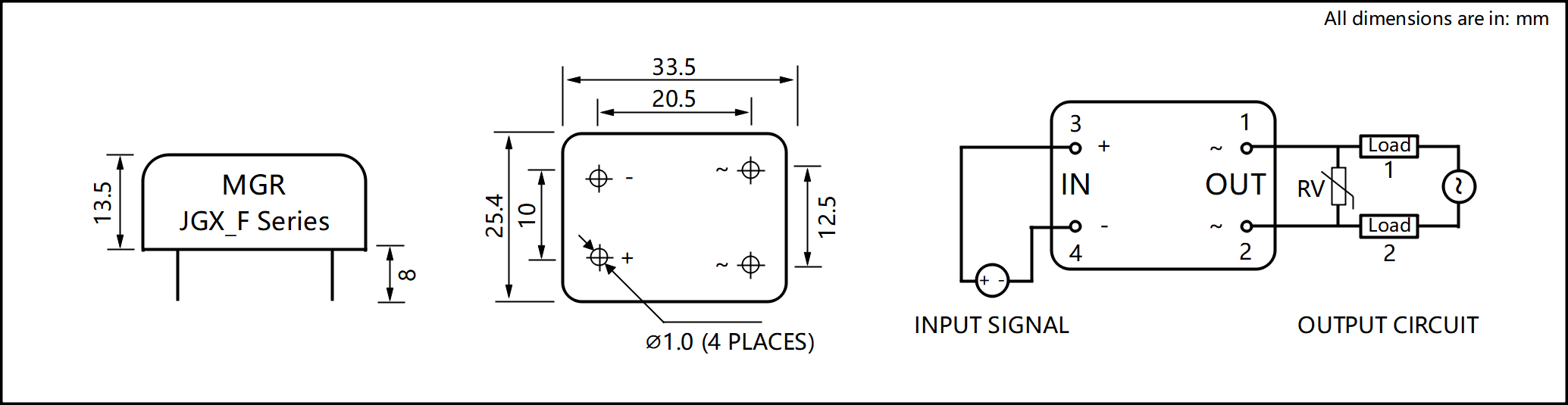 JGX_F Series Metal Housing PCB Mount Solid State Relay Circuit Wring Diagram