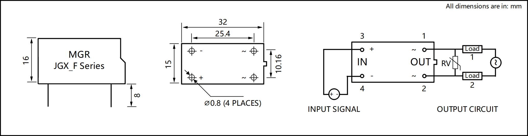 JGX_F Series Plastic Housing PCB Mount Solid State Relay Circuit Wring Diagram