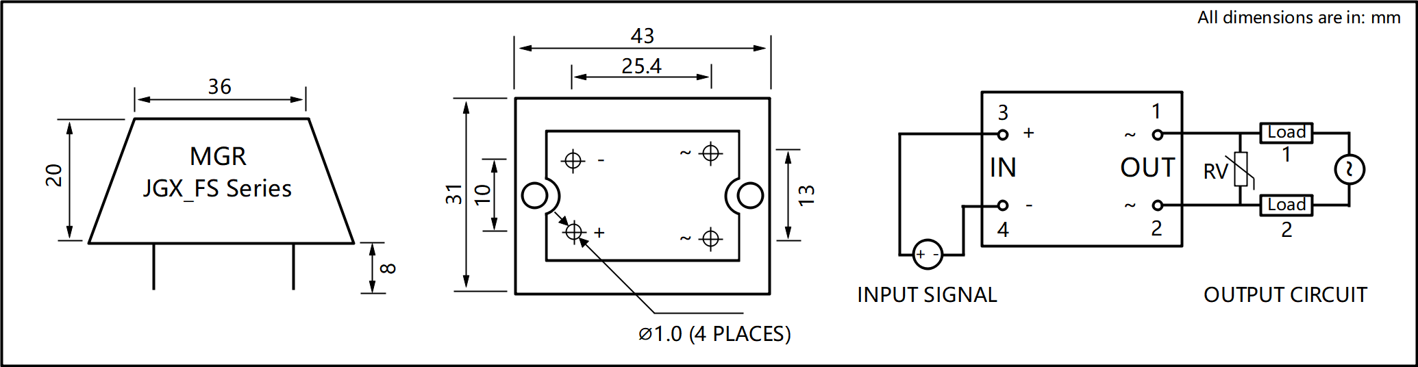 JGX_F Series Cast Aluminum-zinc Alloy Housing PCB Mount Solid State Relay Circuit Wring Diagram