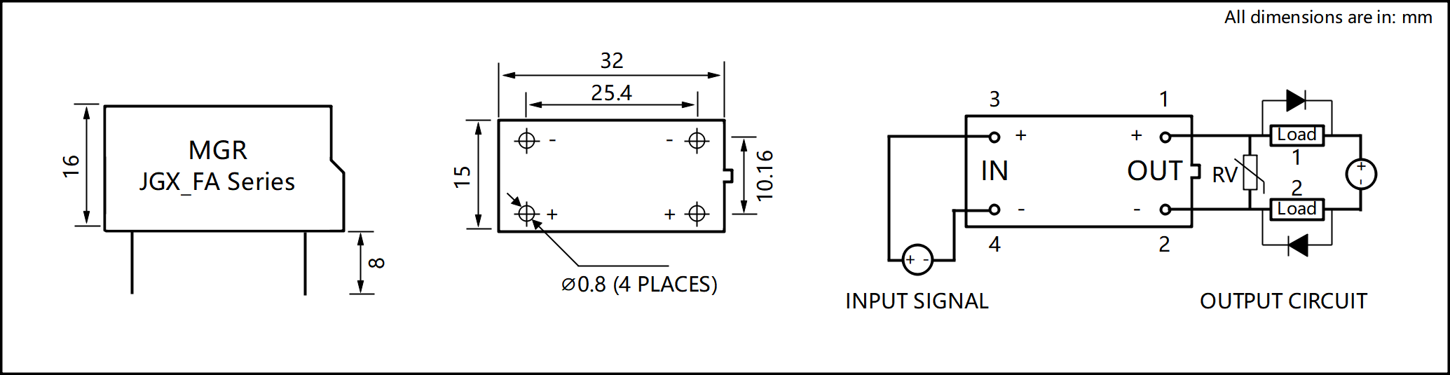 JGX_FA Series Plastic Housing PCB Mount Solid State Relay Circuit Wring Diagram
