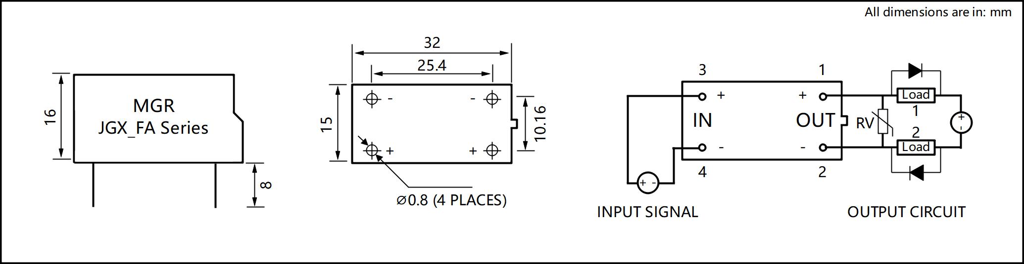 JGX_FA Series Plastic Housing PCB Mount Solid State Relay Circuit Wring Diagram