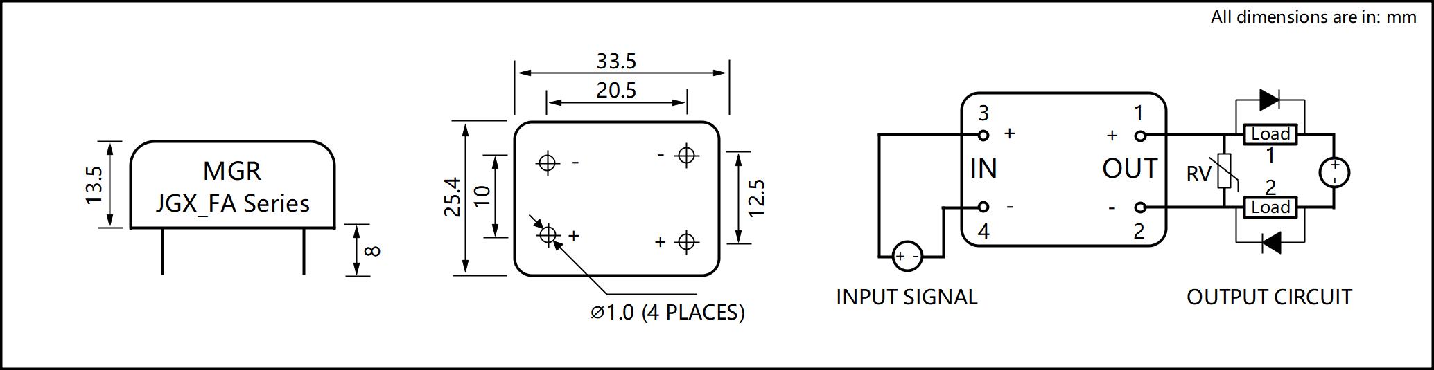 JGX_FA Series Metal Housing PCB Mount Solid State Relay Circuit Wring Diagram