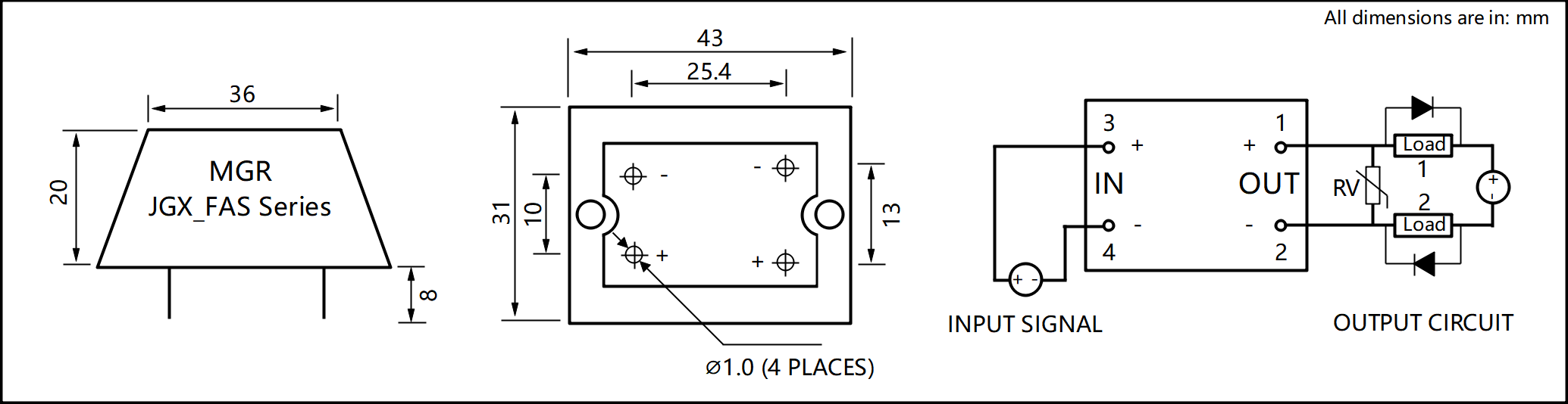 JGX_FA Series Cast Aluminum-zinc Alloy Housing PCB Mount Solid State Relay Circuit Wring Diagram