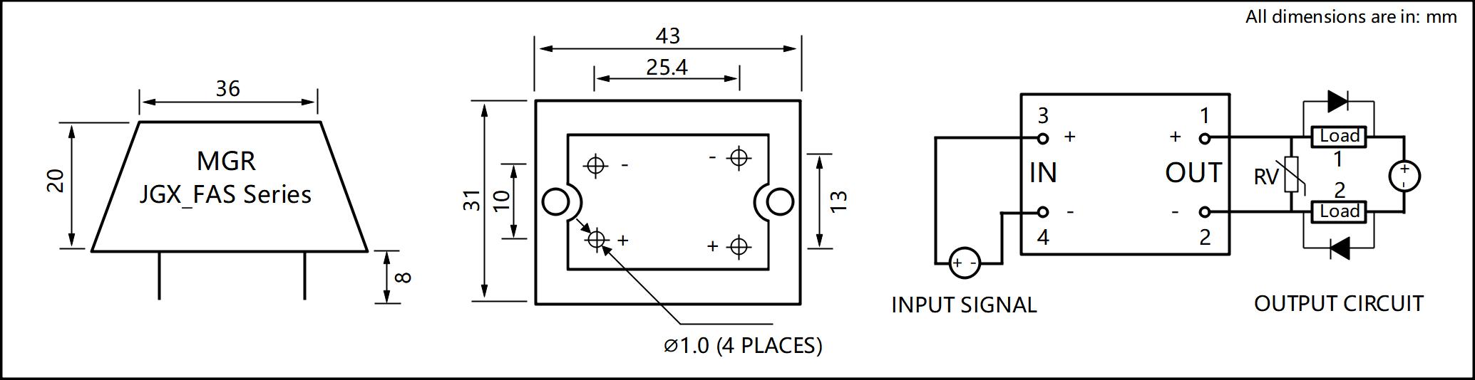 JGX_FA Series Cast Aluminum-zinc Alloy Housing PCB Mount Solid State Relay Circuit Wring Diagram