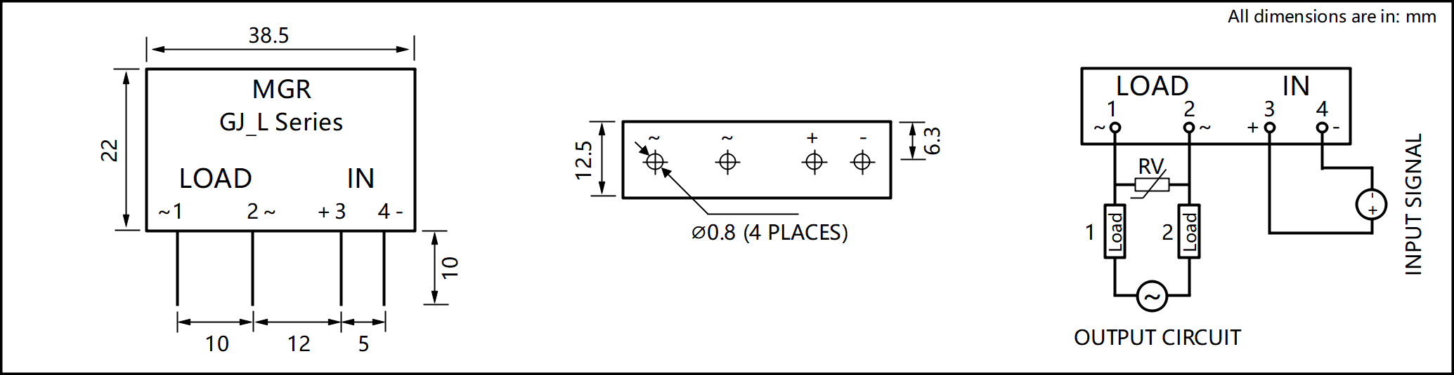 GJ_L Series PCB Mount Solid State Relay diagram