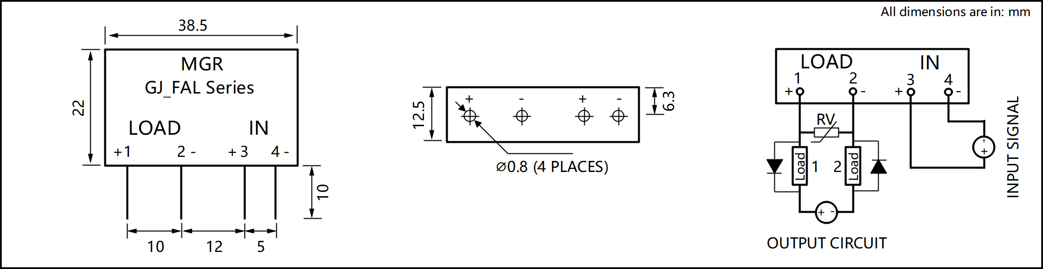GJ_FAL Series PCB Mount Solid State Relay diagram
