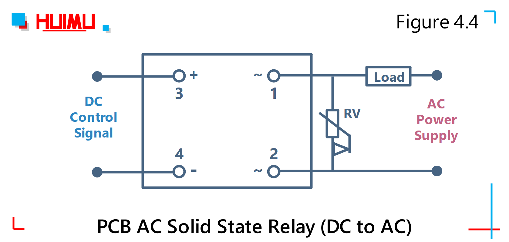 PCB AC solid state relay (DC to AC) wiring diagram and circuit diagram Type 4