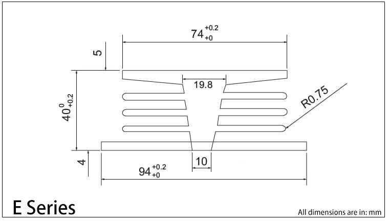 E 시리즈 방열판 도표