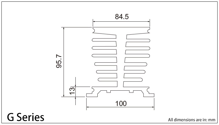 G 시리즈 방열판 도표
