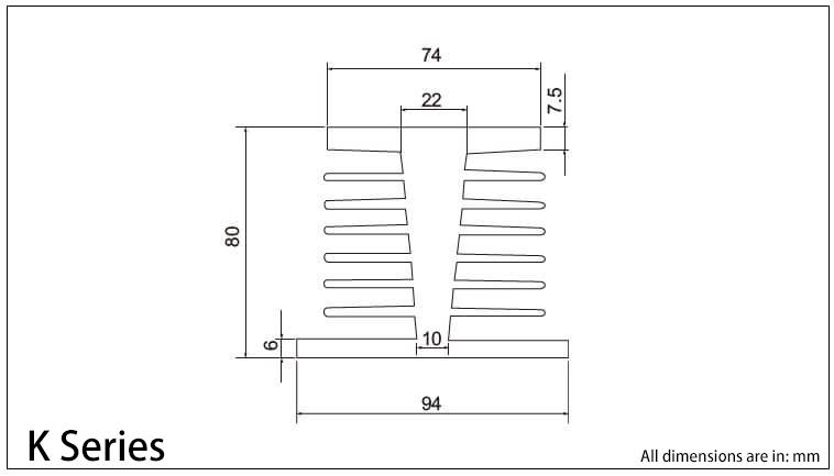K 시리즈 방열판 도표